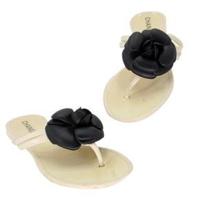 Chanel Jelly Rubber Camellia Flower Cc Sandals